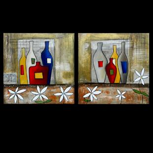 Art: Wine 111 2448 Original Abstract Art A Good Year by Artist Thomas C. Fedro