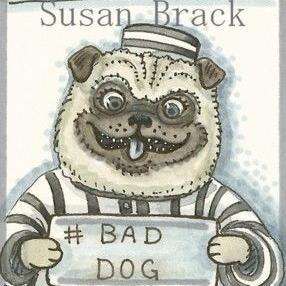 Art: PUG MUG SHOT by Artist Susan Brack