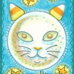Art: CAT IN A HALLOWS EVE MOON by Artist Susan Brack