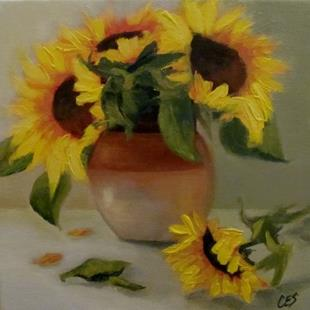 Art: Sunflowers and Stoneware by Artist Christine E. S. Code ~CES~