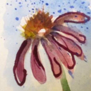 Art: Fall Flower Aceo by Artist Delilah Smith