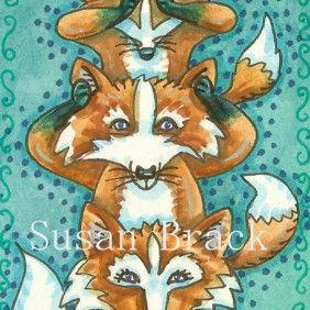Art: LITTLE FOXES SEE NO EVIL by Artist Susan Brack