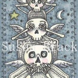 Art: BATS AND BONES SEE NO EVIL by Artist Susan Brack