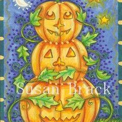 Art: PUMPKINS SEE NO EVIL by Artist Susan Brack