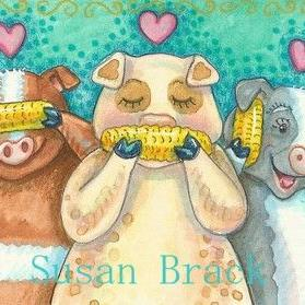 Art: OINKS AND CORN SEE NO EVIL by Artist Susan Brack