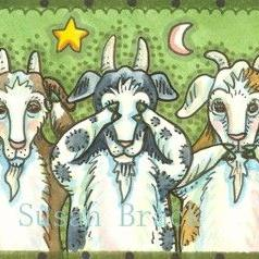 Art: OLD GOATS SEE NO EVIL by Artist Susan Brack