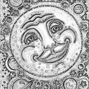 Art: MAN IN THE MOON IN A GUMBALL GALAXY - Stamp by Artist Susan Brack