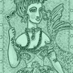Art: NEPTUNE'S OPERA - Mermaid Stamp by Artist Susan Brack