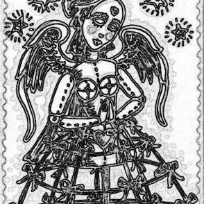 Art: STEAMPUNK ANGEL - Stamp by Artist Susan Brack