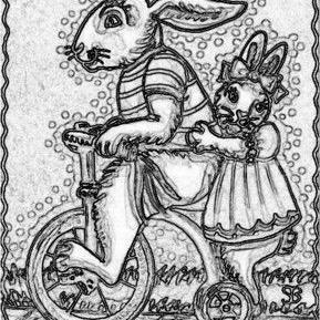 Art: TRICYCLE FOR TWO - Rabbit Stamp by Artist Susan Brack