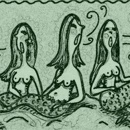Art: SIRENS - Mermaid Stamp by Artist Susan Brack
