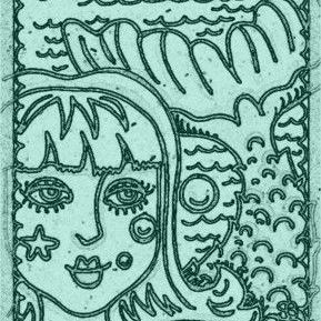 Art: SEPIADOODLE MERMAID TAIL - Stamp by Artist Susan Brack