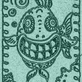 Art: SMILES ARE FREE FISH - Stamp by Artist Susan Brack