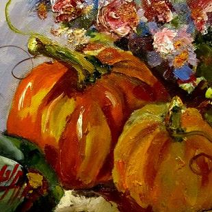 Art: Pumpkins and Flowers-sold by Artist Delilah Smith
