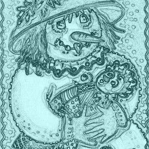 Art: JOY OF A SNOW BABY - Stamp by Artist Susan Brack
