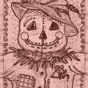 Art: SCARECROW AND MICE - Stamp by Artist Susan Brack