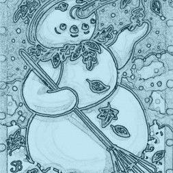 Art: AN EARLY SNOW - Snowman Stamp by Artist Susan Brack