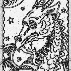 Art: SEPIA DOODLE DRAGON MOON  Stamp by Artist Susan Brack