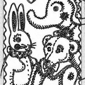 Art: SEPIA DOODLE TEDDY HARE - Stamp by Artist Susan Brack