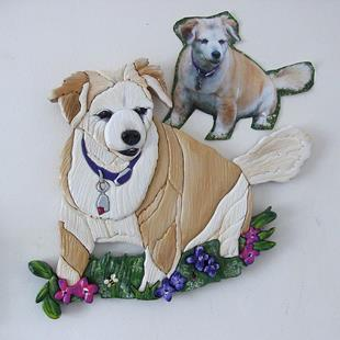 Art: Ginger original Painted Intarsia Art by Artist Gina Stern