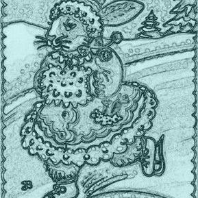 Art: BUNNY ON ICE - Rabbit Stamp by Artist Susan Brack