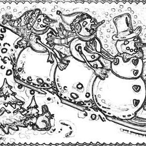 Art: SNOWBALL EXPRESS - Snowman Stamp by Artist Susan Brack