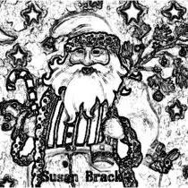 Art: CHIMNEY TOP SANTA Cropped - Santa Stamp by Artist Susan Brack