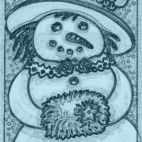 Art: LADY SNOW - Lady Snowman Muff Stamp by Artist Susan Brack