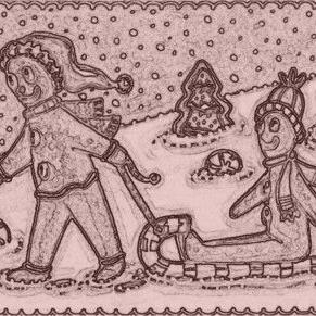 Art: FUN ON PEPPERMINT HILL - Gingerbread Man Sled Stamp by Artist Susan Brack