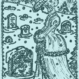 Art: WINTER BLUES - Cemetery Stamp by Artist Susan Brack