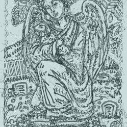 Art: GUARDIAN ANGEL - Cemetery Headstone Stamp by Artist Susan Brack