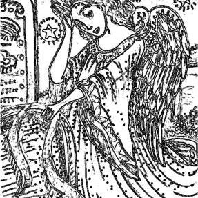 Art: ANGEL OF DEATH - Cemetery Stamp by Artist Susan Brack
