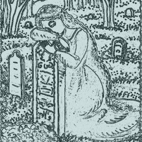 Art: LAST EMBRACE - Cemetery Stamp by Artist Susan Brack
