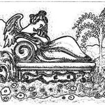 Art: MOURNING ART RECLINING ANGEL CRYPT - Cemetery Stamp by Artist Susan Brack