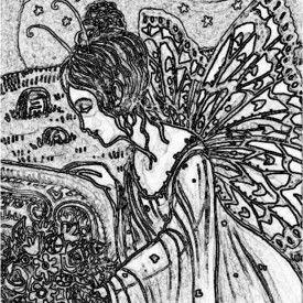 Art: MISSING THOSE WHO GREW GARDENS - Fairy Stamp by Artist Susan Brack
