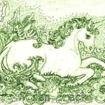 Art: BAT CAT AND UNICORN - Stamp by Artist Susan Brack
