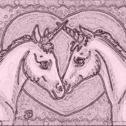 Art: COLT AND FLIRTY FILLY - Unicorn Stamp by Artist Susan Brack