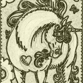 Art: DAY DREAM UNICORN - Stamp by Artist Susan Brack