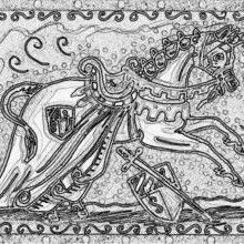 Art: DAYS OF KNIGHTS AND HONOR - Medieval Unicorn Stamp by Artist Susan Brack