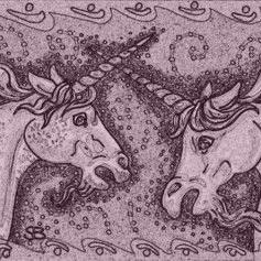 Art: DUELING UNICORNS - Horse Stallion Stamp by Artist Susan Brack
