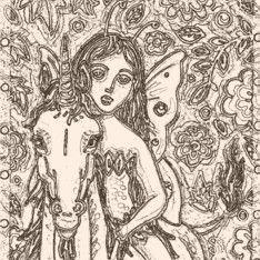 Art: ENCHANTED FOREST - Fairy Unicorn Stamp by Artist Susan Brack