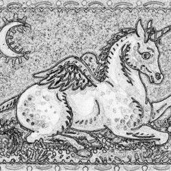 Art: HAVE WINGS CAN FLY - Pegasus Unicorn Colt Stamp by Artist Susan Brack