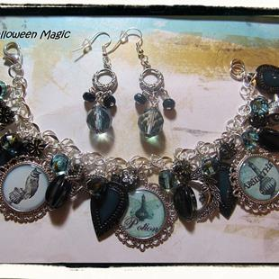 Art: Halloween Magic Altered Art Charm Bracelet Halloween handmade by Artist Lisa  Wiktorek