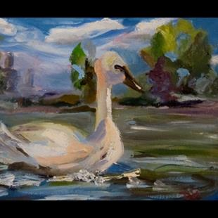 Art: Trumpeter Swan by Artist Delilah Smith