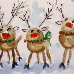 Art: Tree Reindeer by Artist Delilah Smith
