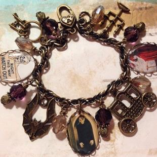 Art: Haunted Castle Altered art charm bracelet ooak by Artist Lisa  Wiktorek