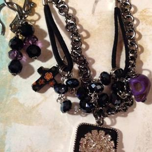 Art: Midnight Altered Art charm Necklace by Artist Lisa  Wiktorek