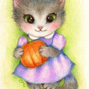 Art: Little Pumpkin ACEO by Artist Carmen Medlin