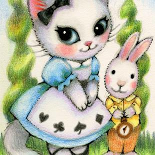 Art: Alice and the Rabbit ACEO by Artist Carmen Medlin