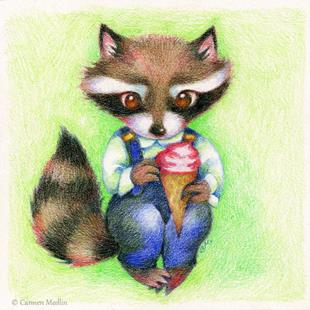 Art: Raccoon's Ice Cream Cone by Artist Carmen Medlin